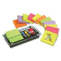 Haftstreifenspender Post-it DS100-VP Z-Notes Spender Promotion (76 x 76 mm inkl. 1 Post-it Z-Notes und Index Spender) 12 Blöcke à 100 Blatt Neonfarben