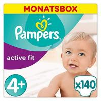 Pampers Pampers Active Fit Windeln, Gr.4+, Maxi Plus 9-18kg, Monatsbox, 1er Pack (1 x 140 Stück)