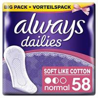 Slipeinlagen Always Slipeinlagen Soft Like Cotton Normal, Vorteilspack, 4er Pack (4 x 58 Stück)