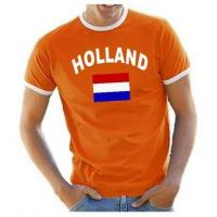 Niederlande Trikot Coole-Fun-T-Shirts Herren T-Shirt Ringer, Orange, M, 10888_Holland_HERI