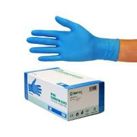 Nitrilhandschuhe 200 Stück Box (M, Nitril blau) Einweghandschuhe, Einmalhandschuhe, Untersuchungshandschuhe, Nitril Handschuhe, puderfrei, ohne Latex, unsteril, latexfrei, disposible gloves, blue, Med