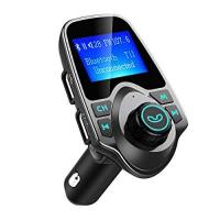 Bluetooth-Telefon OMORC Bluetooth FM Transmitter Radio Adapter für iPhone Android, Schwarz/Grau