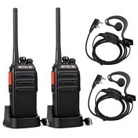 Walkie Talkie Retevis RT24 Plus Walkie Talkie 16 Kanäle UHF PMR Funkgeräte Wiederaufladbar USB Ladeschale mit Headset (Ein Paar, Schwarz)