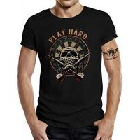 Darts Shirts LOBO NEGRO Original Design, T-Shirt für den Dart Fan: Play Hard Farbe schwarz -L