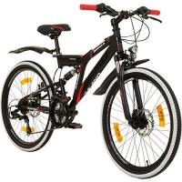 24 Zoll MTB Fully Galano Adrenalin DS Mountainbike STVZO Jugendfahrrad, Farbe:Schwarz / Rot