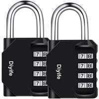 Diyife 2 Pack 4-Stelliges Zahlenschloss, E2BUY Kombinationsschloss, Vorhängeschloss, Wetterfestes Metall & Plated Steel Combination Lock für Schule, Angestellter, Gym & Sports Locker, Case, Toolbox, Zaun, Hasp Cabinet & Storage - Schwarz