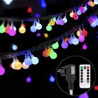 Lichterkette strombetrieben B-right 100 LEDs Globe Lichterkette, LED Lichterkette bunt, Innen- und Außen Lichterkette glühbirne, Fernbedienung, Weihnachtsbeleuchtung für Weihnachten, Halloween, Hochzeit, Party, Weihnachtsbaum