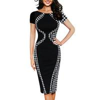 Bindalli Xmiral Damen Kleid Polyester Sexy Patchwork Kurzarm Party Business Stil Bleistift Mini Kleider (XL,Schwarz)